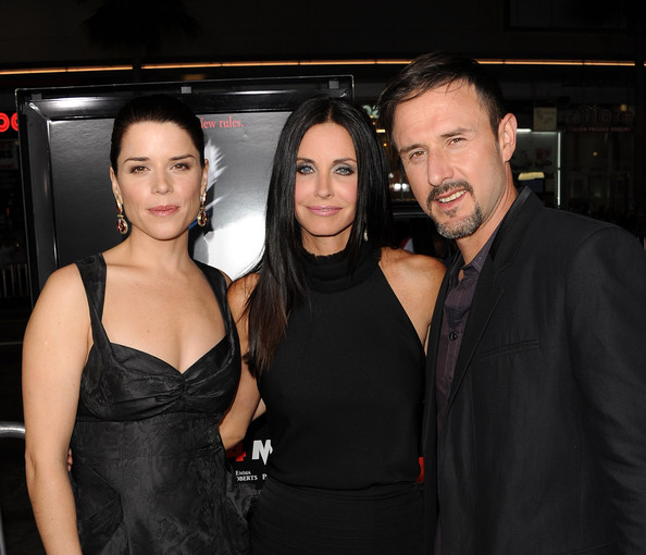 "Actors Neve Campbell, Courteney Cox, and David Arquette arrive at the premiere of The Weinstein Company's ""Scream 4"" held at Grauman's Chinese Theatre on April 11, 2011 in Hollywood, California."