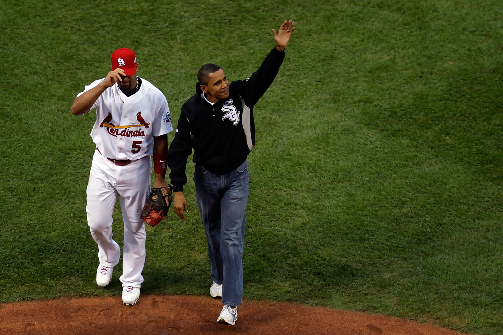 Albert Pujols in President Barack Obama Throws Out First ...