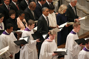U.S. President Barack Obama, first lady Michelle Obama, Dr. Jill Biden and Vice President Joseph Biden participate in the National Prayer Service at the National Cathedral, on January 22, 2013 in Washington, DC. President Obama was sworn in on January 20 for his second term as President of the United States.