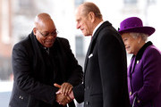 South African President Jacob Zuma greets Prince Philip, Duke of Edinburgh as HM Queen Elizabeth II looks on during a ceremonial welcome on Horseguards Parade on March 3, 2010 in London, England. The South African Leader is on a three day State visit to Britain.