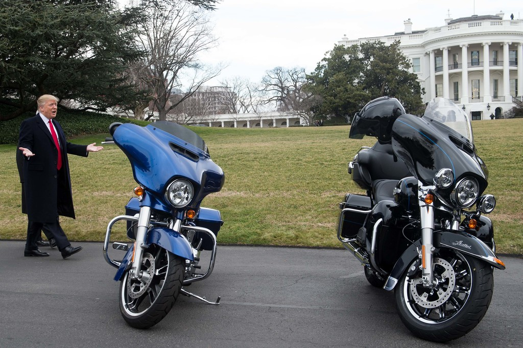donald trump photos photos - trump has lunch with harley davidson