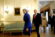 Prime Minister Theresa May, husband Philip May, US President Donald Trump and First Lady Melania Trump during a visit to 10 Downing Street, during the second day of his State Visit on June 4, 2019 in London, England. President Trump's three-day state visit began with lunch with the Queen, followed by a State Banquet at Buckingham Palace, whilst today he will attend business meetings with the Prime Minister and the Duke of York, before travelling to Portsmouth to mark the 75th anniversary of the D-Day landings.
