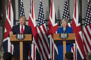 US President Donald Trump and Prime Minister Theresa May attend a joint press conference at the Foreign & Commonwealth Office during the second day of the President's State Visit on June 4, 2019 in London, England. President Trump's three-day state visit began with lunch with the Queen, followed by a State Banquet at Buckingham Palace, whilst today he will attend business meetings with the Prime Minister and the Duke of York, before travelling to Portsmouth to mark the 75th anniversary of the D-Day landings.