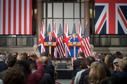 US President Donald Trump and Prime Minister Theresa May attend a joint press conference at the Foreign & Commonwealth Office during the second day of his State Visit on June 4, 2019 in London, England. President Trump's three-day state visit began with lunch with the Queen, followed by a State Banquet at Buckingham Palace, whilst today he will attend business meetings with the Prime Minister and the Duke of York, before travelling to Portsmouth to mark the 75th anniversary of the D-Day landings.
