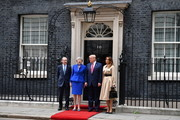 Prime Minister Theresa May and husband Philip May welcome US President Donald Trump and First Lady Melania Trump to 10 Downing Street as Larry the Cat sits on the window ledge during the second day of his State Visit on June 4, 2019 in London, England. President Trump's three-day state visit began with lunch with the Queen, followed by a State Banquet at Buckingham Palace, whilst today he will attend business meetings with the Prime Minister and the Duke of York, before travelling to Portsmouth to mark the 75th anniversary of the D-Day landings.