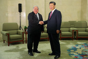 Samoa Prime Minister Tuilaepa Lupesoliai Sailele Malielegaoi (L) shakes hands with Chinese President Xi Jinping (R) at The Great Hall Of The People on September 18, 2018 in Beijing, China.