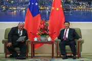 Samoa Prime Minister Tuilaepa Lupesoliai Sailele Malielegaoi (L) meets with Chinese President Xi Jinping (R) at The Great Hall Of The People on September 18, 2018 in Beijing, China.