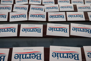 Signs for Democratic presidential candidate and Senator (I-VT) Bernie Sanders line bleachers at a campaign rally at the University of Minnesotas Williams Arena on November, 3, 2019 in Minneapolis, Minnesota. Over 10,000 people attended the rally, where Sanders was joined by Democratic Representative Ilhan Omar.