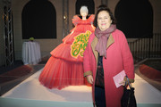 """Suzy Menkes attends the Press Event for The Costume Institute's spring 2019 exhibition """"Camp: Notes on Fashion"""" on February 22, 2019 in Milan, Italy."""