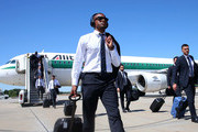 In this handout image provided by UEFA, Patrice Evra of Juventus arrives on the eve of the UEFA Champions League Final match against FC Barcelona at Tegel Airport on June 5, 2015 in Berlin, Germany.