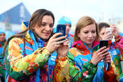 Pole vaulter and Mayor of the Olympic Village Yelena Isinbayeva (L) of Russia visits the Olympic Park ahead of the Sochi 2014 Winter Olympics on February 6, 2014 in Sochi, Russia.
