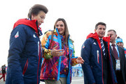 Princess Anne (L) of Great Britain and pole vaulter and Mayor of the Olympic Village Yelena Isinbayeva (2L) of Russia meet ahead of the Sochi 2014 Winter Olympics at the Olympic Park on February 6, 2014 in Sochi, Russia.