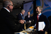 Prince Frederik of Denmark (R) shakes hands with Prince Albert II of Monaco as they attend the International Olympic Committee (IOC) meeting ahead of the Sochi 2014 Winter Olympics at the Radisson Blu hotel on February 5, 2014 in Sochi, Russia.