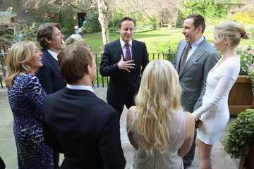 Josh Lewsey Helen Skelton Prime Minister David Cameron Meets Members Of The Sports Relief Team