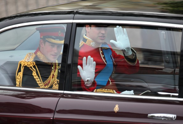 Prince William and Prince Harry are seen arriving for the Royal Wedding of