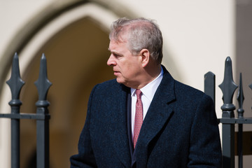 Prince Andrew The Royal Family Attend Easter Sunday Service at Windsor Castle