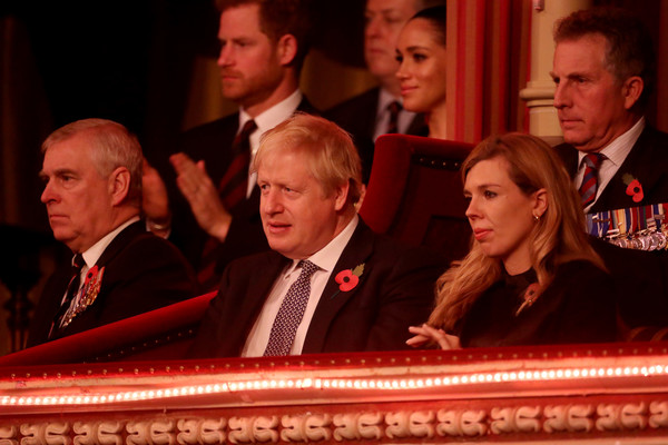 The Queen And Members Of The Royal Family Attend The Royal British Legion Festival Of Remembrance [the royal family attend the annual royal british legion festival of remembrance,people,event,audience,speech,official,jury,members,queen,harry,andrew,duke,prime minister,l-r,sussex,duke of sussex]