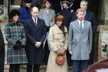 Prince Andrew Prince William Members of the Royal Family Attend St Mary Magdalene Church in Sandringham