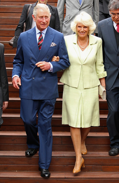Camilla, Duchess of Cornwall and Prince Charles, Prince of Wales arrive at the Centre for Peace and Reconciliation on October 30, 2014 in Bogota, Colombia. The Royal Couple are on a four day visit to Colombia as part of a Royal tour to Colombia and Mexico. After fifty years of armed conflict in Colombia the theme for the visit is Peace and Reconciliation.
