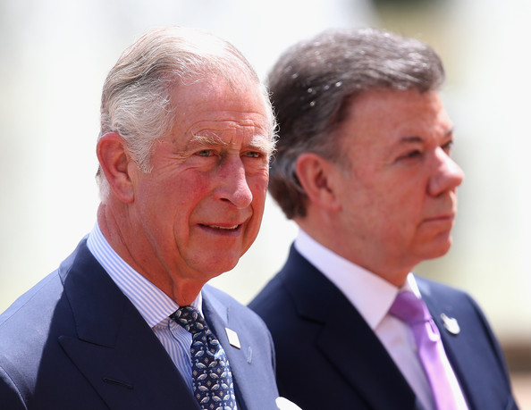 Prince Charles, Prince of Wales and the President of Colombia Juan Manuel Santos at the Presidential Palace for an Official Welcome on October 29, 2014 in Bogota, Colombia. The Royal Couple are on a four day visit to Colombia as part of a Royal tour to Colombia and Mexico. After fifty years of armed conflict in Colombia the theme for the visit is Peace and Reconciliation.