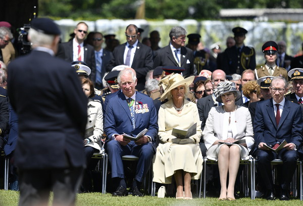 British Royal Legion Holds D-Day 75th Anniversary Ceremonies In Normandy [event,uniform,military officer,ceremony,crowd,military,theresa may,charles,l-r,service,britan,normandy,france,british royal legion holds,ceremonies,d-day]
