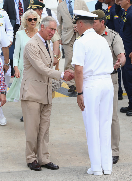 Camilla, Duchess of Cornwall and Prince Charles, Prince of Wales visit the CoastGuard on October 31, 2014 in Cartagena, Colombia. The Royal Couple are on a four day visit to Colombia as part of a Royal tour to Colombia and Mexico. After fifty years of armed conflict in Colombia the theme for the visit is Peace and Reconciliation.