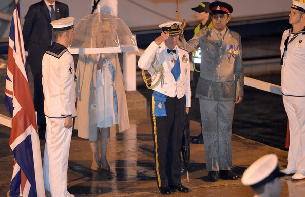 The Prince of Wales, Admiral of the Fleet, and The Duchess of Cornwall, arrive for a Sunset Ceremony and Reception on board HMS Argyll on Day 4 of their visit on October 31, 2014 in Cartagena, Colombia. Prince Charles, Prince Of Wales and Camilla, Duchess Of Cornwall are on a four day visit to Colombia as part of a Royal tour to Colombia and Mexico. After fifty years of armed conflict in Colombia the theme for the visit is Peace and Reconciliation.