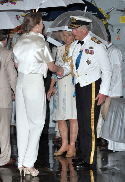 The Prince of Wales and the Duchess of Cornwall greet the First Lady of Colombia Maria Clemencia Rodriguez Munera at a Sunset Ceremony and Reception on board HMS Argyll on Day 4 of their visit on October 31, 2014 in Cartagena, Colombia. Prince Charles, Prince Of Wales and Camilla, Duchess Of Cornwall are on a four day visit to Colombia as part of a Royal tour to Colombia and Mexico. After fifty years of armed conflict in Colombia the theme for the visit is Peace and Reconciliation.
