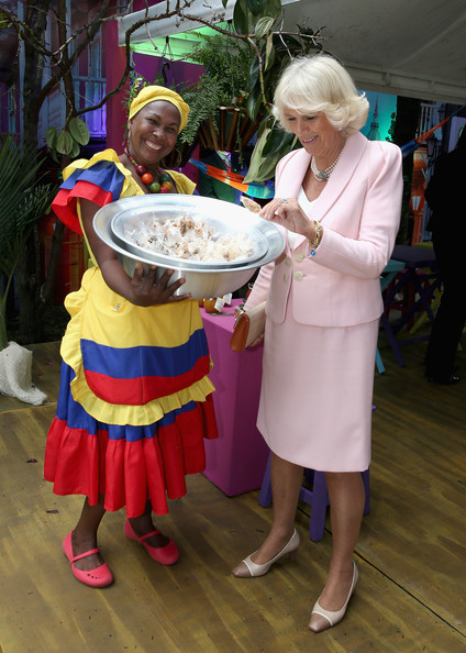 Camilla, Duchess of Cornwall meets Caribbean Themed guests at a Sustainability Fair at the Ambassadors Residence on October 29, 2014 in Bogota, Colombia. The Royal Couple are on a four day visit to Colombia as part of a Royal tour to Colombia and Mexico. After fifty years of armed conflict in Colombia the theme for the visit is Peace and Reconciliation.