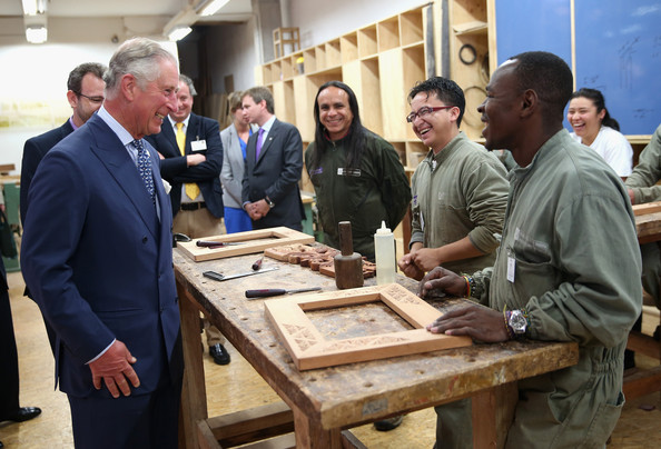 Prince Charles visits a workshop in a 'Skill School' on October 29, 2014 in Bogota, Colombia. The Royal Couple are on a four day visit to Colombia as part of a Royal tour to Colombia and Mexico. After fifty years of armed conflict in Colombia the theme for the visit is Peace and Reconciliation.