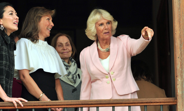 Camilla, Duchess of Cornwall and Maria Clemencia Rodriguez de Santos, the First Lady of Colombia visit Escuela de Artes Y Oficios Arts and Crafts School on October 29, 2014 in Bogota, Colombia. The Royal Couple are on a four day visit to Colombia as part of a Royal tour to Colombia and Mexico. After fifty years of armed conflict in Colombia the theme for the visit is Peace and Reconciliation.