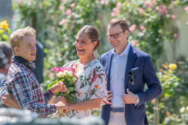 The Crown Princess Victoria Of Sweden's Birthday Celebrations [victoria,daniel,audience,members,photograph,flower arranging,floral design,ceremony,yellow,event,floristry,wedding,botany,marriage,sweden,borgholm,solliden palace,oland,birthday celebrations,birthday celebrations]