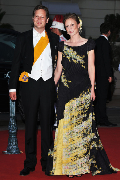 Monaco Royal Wedding - Dinner Arrivals and Fireworks [red carpet,carpet,dress,event,premiere,fashion,formal wear,flooring,suit,gown,arrivals,sophie johanna maria,charlene of monaco,georg friedrich,albert ii,fireworks,monaco,monaco royal wedding,wedding,dinner]
