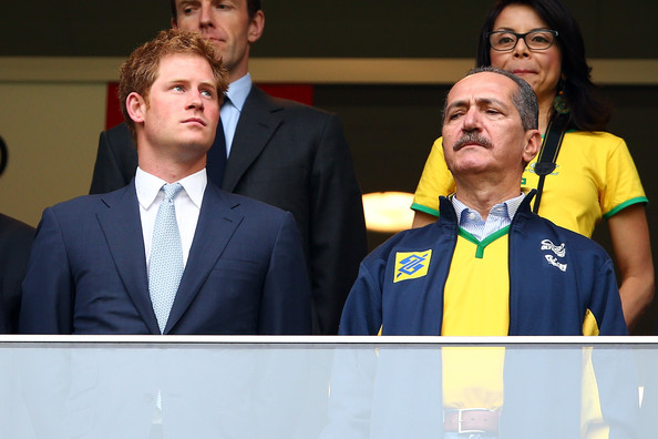 Prince Harry Prince Harry (L) and Brazil Minister of Sport Aldo Rebelo look on during the 2014 FIFA World Cup Brazil Group A match between Cameroon and Brazil at Estadio Nacional on June 23, 2014 in Brasilia, Brazil.