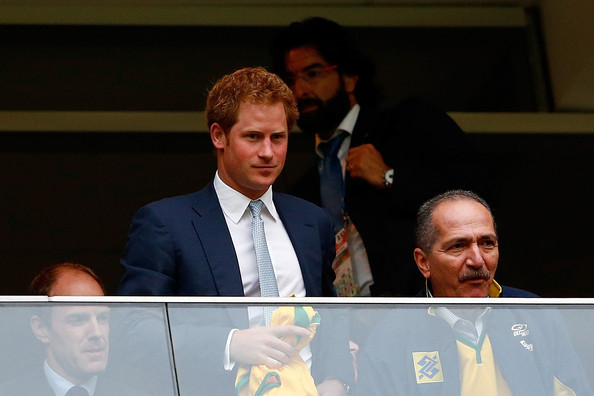 Prince Harry Prince Harry (C) and Brazil Minister of Sport Aldo Rebelo (R) look on during the 2014 FIFA World Cup Brazil Group A match between Cameroon and Brazil at Estadio Nacional on June 23, 2014 in Brasilia, Brazil.