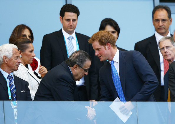 Prince Harry Prince Harry (R) shakes hands during the 2014 FIFA World Cup Brazil Group D match between Costa Rica and England at Estadio Mineirao on June 24, 2014 in Belo Horizonte, Brazil.