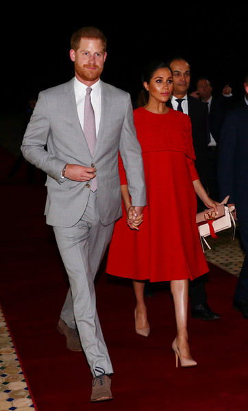 The Duke And Duchess Of Sussex Visit Morocco [harry,meghan,suit,formal wear,clothing,red,red carpet,fashion,carpet,tuxedo,event,premiere,casablanca airport,sussex,duchess,morocco,duke and duchess of sussex visit morocco,duke of sussex]