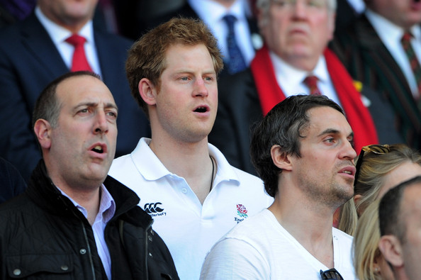 Prince Harry Prince Harry sings the national anthem prior to kickoff  during the RBS Six Nations match between England and Wales at Twickenham Stadium on March 9, 2014 in London, England.