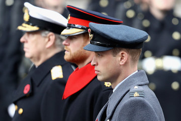 Prince Harry The Royal Family Lay Wreaths at the Cenotaph on Remembrance Sunday