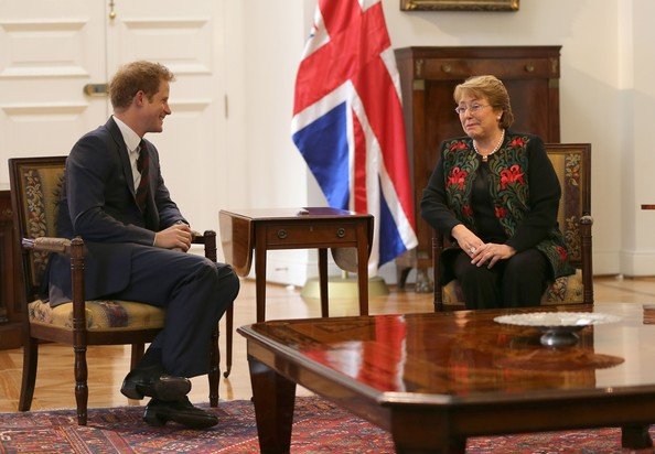 Prince Harry meets Chilean President Michelle Bachelet as he visits the La Moneda Presidential Palace on June 27, 2014 in Santiago, Chile.  Prince Harry is on a three day tour of Chile after visiting Brazil.