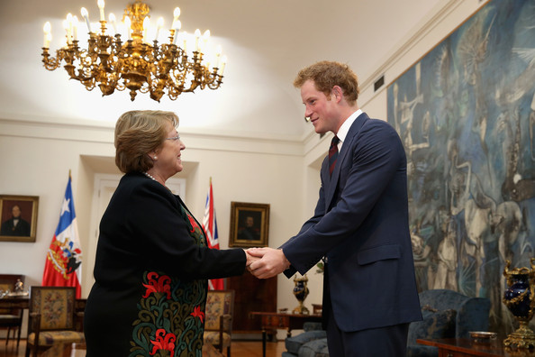 Prince Harry meets President of Chile Michelle Bachelet in the La Moneda Presidential Palace on June 27, 2014 in Santiago, Chile.  Prince Harry is on a three day tour of Chile after visiting Brazil.