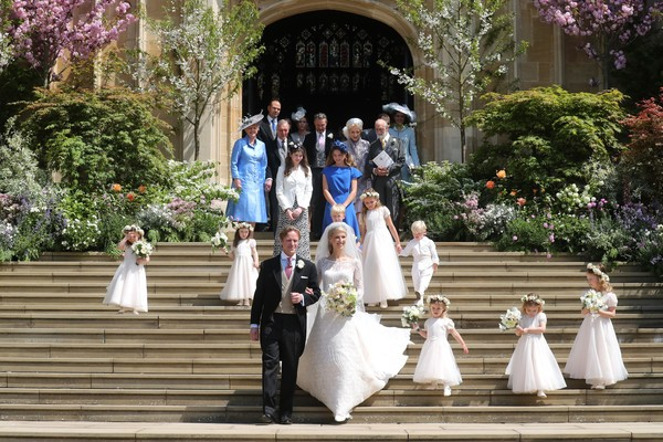 The Wedding Of Lady Gabriella Windsor And Mr. Thomas Kingston [photograph,ceremony,bride,dress,event,wedding,bridesmaid,wedding dress,tradition,gown,gabriella windsor,thomas kingston,bridesmaids,page boys,newlyweds,steps,chapel,st georges chapel,windsor,wedding]