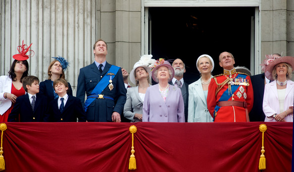 Trooping The Colour [event,social group,community,team,ceremony,crowd,eugenie,beatrice,michael,elizabeth ii,philip,prince william,princess,l-r,balcony,trooping the colour]