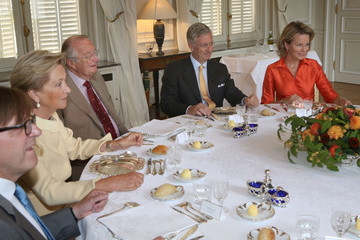 Prince Philippe King Albert II Meets with Former Prime Ministers