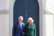 Prince Charles, Prince of Wales and Camilla, Duchess of Cornwall on the steps of the summer house during the reopening of Hillsborough Castle on April 09, 2019 in Belfast, Northern Ireland.