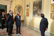 Prince Charles, Prince of Wales unveils a painting of himself, a portrait by artist Gareth Reid during the reopening of Hillsborough Castle on April 09, 2019 in Belfast, Northern Ireland.