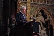 British Prime Minister Boris Johnson attends a service to mark Armistice Day and the centenary of the burial of the unknown warrior at Westminster Abbey on November 11, 2020 in London, England.