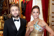 Douglas Booth and Yasmin Le Bon attend a reception for the Elephant Family Animal Ball hosted by Prince Charles, Prince of Wales and Camilla, Duchess of Cornwall at Clarence House on June 13, 2019 in London, England. Elephant Family is an international NGO dedicated to protecting the Asian elephant from extinction in the wild..