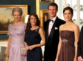 (L-R) Princess Benedikte of Denmark, Princess Marie of Denmark, Prince Joachim of Denmark, Crown Princess Mary of Denmark and Drown Prince Frederik of Denmark take part in a receiving line ahead of an official dinner at the Royal Palace on March 26, 2012 in Copenhagen, Denmark. Prince Charles, Prince of Wales and Camilla, Duchess of Cornwall are on a Diamond Jubilee tour of Scandinavia that takes in Norway, Sweden and Denmark.