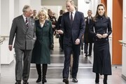 Prince Charles, Prince of Wales, Camilla, Duchess of Cornwall, Prince William, Duke of Cambridge and Catherine, Duchess of Cambridge during a joint visit to the defence medical rehabilitation centre (DMRC) Stanford Hall on February 11, 2020 in Loughborough, United Kingdom. Known as 'DMRC Stanford Hall', the centre is operated by the MOD and began admitting patients in October 2018. They deliver in-patient and residential rehabilitation to serving members of the Armed Forces.